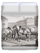 English Farm Horses, 1823 Duvet Cover