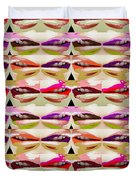 Enjoy Bliss Of Artistic Sensual Aura Lips  Kiss Romance Pattern Digital Graphic Signature   Art  Nav Duvet Cover