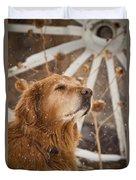 Enjoying The Moment - Golden Retriever - Casper Wyoming Duvet Cover