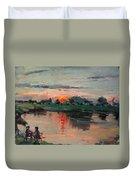 Enjoying The Sunset By Elmer's Pond Duvet Cover