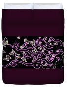Enlighted Silhouette With Butterflies Duvet Cover