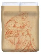 Enthroned Madonna And Child Duvet Cover
