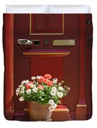 Entrance Door With Flowers Duvet Cover