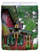 Entry Of A Thai Teak Home In Bangkok-thailand Duvet Cover