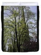 Episcopal Cathedral In Edinburgh Visible Through Trees Duvet Cover