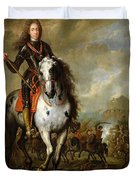 Equestrian Portrait Of Prince Eugene De Savoie 1663-1736 C.1700-10 Oil On Panel Duvet Cover