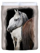 Equine Horse Head And Tail Duvet Cover by Daniel Hagerman