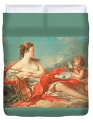Erato  The Muse Of Love Poetry Duvet Cover by Francois Boucher