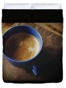 Espresso With Cream In Blue Porcelain Duvet Cover