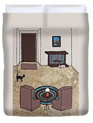 Essence Of Home - Cat By Fireplace Duvet Cover