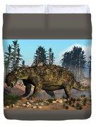 Euoplocephalus Dinosaur Grazing Duvet Cover