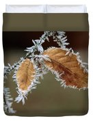 European Beech Leaves With Frost Duvet Cover