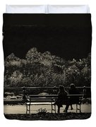 Evening Bench Warmers Duvet Cover