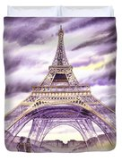 Evening In Paris A Walk To The Eiffel Tower Duvet Cover