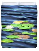 Evening Lake With Water Lily Duvet Cover