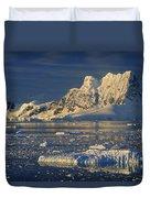 Evening Light On Peaks Paradise Bay Duvet Cover