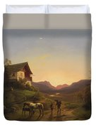 Evening Mood In Front Of A Wide Landscape With Horses Duvet Cover