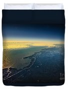 Evening Ocean Shore From The Airplane Window Duvet Cover