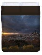 Evening Sunlit Seattle Skyline Duvet Cover