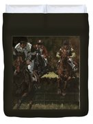 Eventing Horses Over Jump Duvet Cover