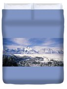 Evergreen Trees On A Snow Covered Duvet Cover