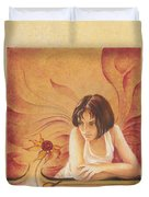 Everyday Angel With Flower Duvet Cover