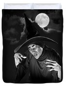 Evil Witch Under A Full Moon Duvet Cover