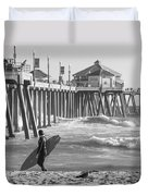 Existential Surfing At Huntington Beach Duvet Cover