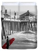 Existential Surfing At Huntington Beach Selective Color Duvet Cover