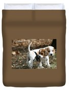 Exploring Beagle Pups Duvet Cover