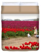 Exploring The Tulip Fields Duvet Cover