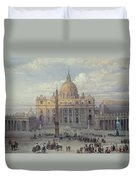 Exterior Of St Peters In Rome From The Piazza Duvet Cover
