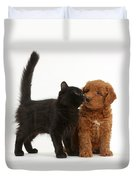 F1b Goldendoodle Pup With Kitten Duvet Cover