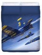 Fa-18 Hornets Of The Blue Angels Fly Duvet Cover
