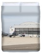 Fa-18 Hornets On The Flight Line Duvet Cover