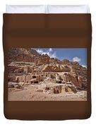 facade street in Nabataean ancient town Petra Duvet Cover