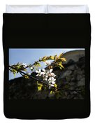 Facades And Fruit Trees - The Church And The Plum Duvet Cover
