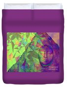 Face In The Rock With Maple Leaves Duvet Cover
