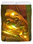 Face Of Reclining Buddha In Wat Po In Bangkok-thailand Duvet Cover