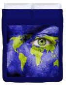 Face The World Map Duvet Cover