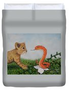 Face To Face Were A Lion And Snake Duvet Cover