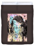 Faceless Girl With Her Crow Duvet Cover
