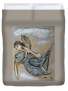 Faery And The Stork - Prints Duvet Cover