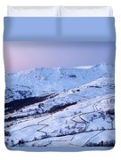 Fairfield Covered In Snow At Sunset Duvet Cover