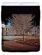 Fairhope Ave With Clock Night Image Duvet Cover