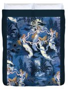 Fairies In The Moonlight French Textile Duvet Cover by Photo Researchers