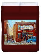 Fairmount Bagel In Winter Montreal City Scene Duvet Cover