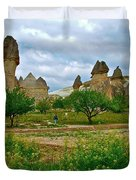 Fairy Chimneys In Cappadocia-turkey Duvet Cover