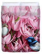 Fairy Wrens And Orchids Duvet Cover