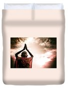 Faith And Prayers For Peace Duvet Cover by Nila Newsom
